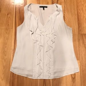 Tops - WHBM ivory shell with pleat and ruffle front Sz M